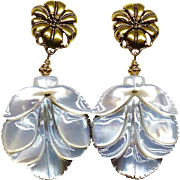 Mother of Pearl Flower Drop Earrings