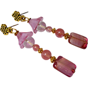 SOLD Vintage German Pink Glass, Strawberry Crystal Drop Earrings - Red Tag Sale Item