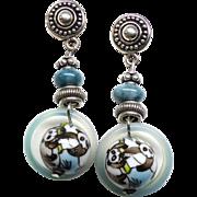 Chinese Porcelain Panda Beads Drop Earrings