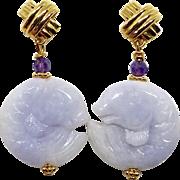 Carved Lavender Jade Fish Drop Earrings