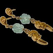 18K Gold Vermeil Parrot, Green Fluorite Flower Drop Earrings
