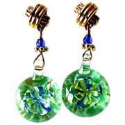 SOLD Green Glass Lamp Work Bead with Embedded Blue Flower Drop Earrings