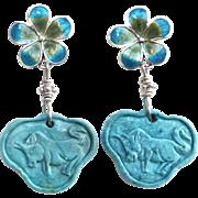 Turquoise Lock, Enameled Flower Drop Earrings