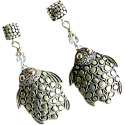 SOLD Vintage Indonesian Silver Turtle Drop Earrings - Red Tag Sale Item