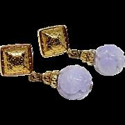 Lavender Jade Long Life Drop Earrings