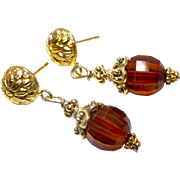 Faceted Deep Honey Baltic Amber Drop Earrings