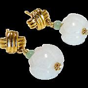 Carved White Jade Lotus Drop Earrings