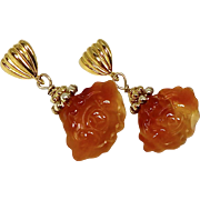 SOLD Carved Carnelian Double Bat Drop Earrings