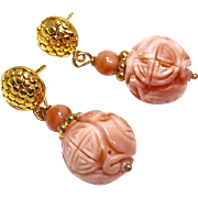 SOLD Carved Coral Long Life Drop Earrings