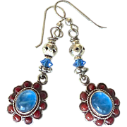 SOLD Blue Moonstone, Coral  and Sterling Silver Drop Earrings