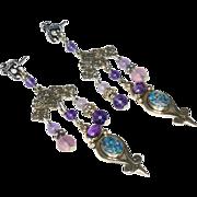 SALE Opal, Amethyst, Indonesian Silver Drop Earrings