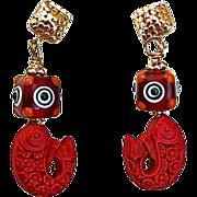 SALE Red Cinnabar Fish, Glass Lamp Work Bead Drop Earrings
