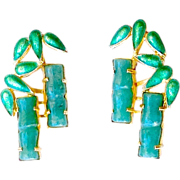 SALE Vintage Green Agate and Enamel Bamboo Post Earrings