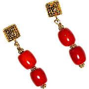 SOLD Enhanced Red Coral Drop Earrings