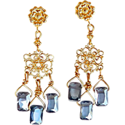 SOLD Blue Cubic Zirconia Drop Chandelier Earrings