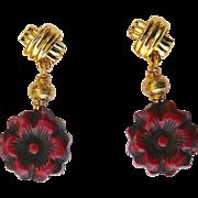 Antiqued Red Cinnabar Flower Drop Earrings