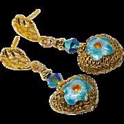 Vintage Gold Vermeil Enameled Filigree Heart Drop Earrings
