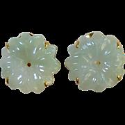 Carved Green Jade Flower Button Earrings