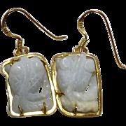 Carved Jade Fish Drop Earrings