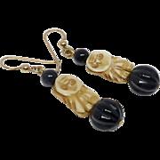 Vintage Carved Bone Owl, Onyx Drop Earrings