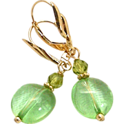 SOLD Tumbled Green Peridot Nuggets Drop Earrings