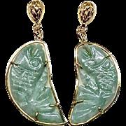 SALE Carved Green Jade Fish Drop Earrings