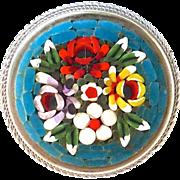 SALE Vintage Italian Handmade Glass Floral Micro Mosaic Pin