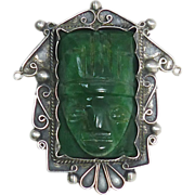 SALE Vintage Green Jade Mexican Mayan Face Pin