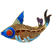 SALE Vintage Enameled Gold Vermeil Fish Pin