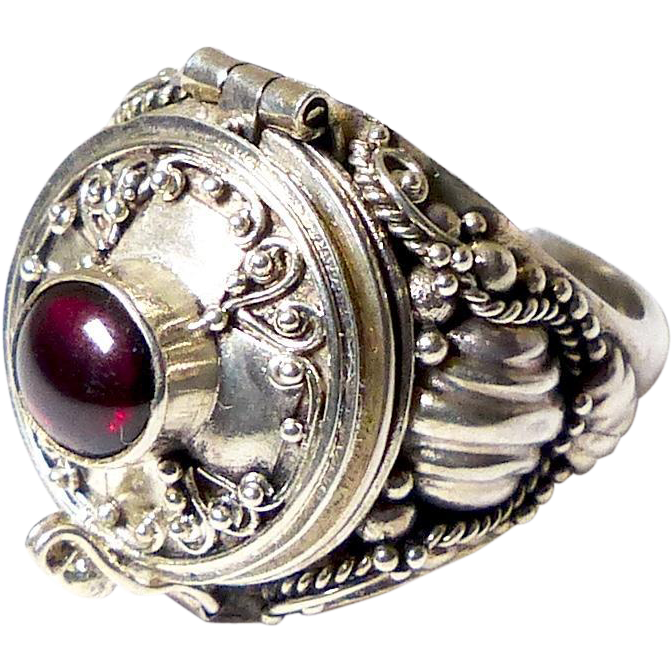 vintage silver and garnet poison ring