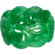 SOLD Vintage Carved Enhanced Green Jade Circle Ring