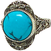 SALE Vintage Chinese Silver Filigree and Natural Turquoise Ring from the 1920's