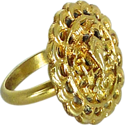Antique Chinese 18k Gold Vermeil Button Ring