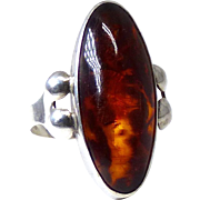 Vintage Baltic Amber and Silver Ring