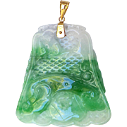 Vintage Carved Green and White Jade Fish and Lotus Pendant