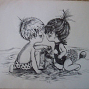 Drawings of Children at Play-Charcoal Portraits-Boy and Girl Art