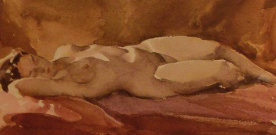 Nude Lady Watercolor by Tore Asplund Artist