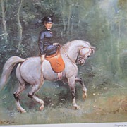 "Wolfgang Tritt Vintage Watercolor ""Elegance on Horseback"""
