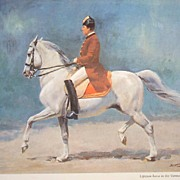 """A Vintage Watercolor Wolfgang Tritt """"Lipizzian Horse in the Vienna Manege"""""""