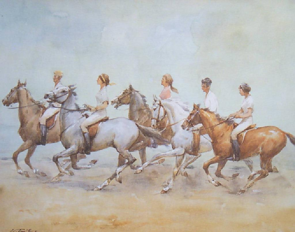 """""""Riding in the Breeze"""" A Wolfgang Tritt  Vintage Watercolor"""