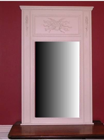 Trumeau Mirror in Musical Motif with White Onlays