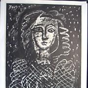 Pablo Picasso.  Buste au fond etoile.  Lithograph