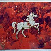 Mythology White Horse on Red Background