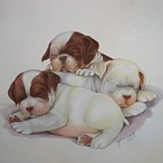 Bulldogs Puppy Print by Lopez vintage Lithograph