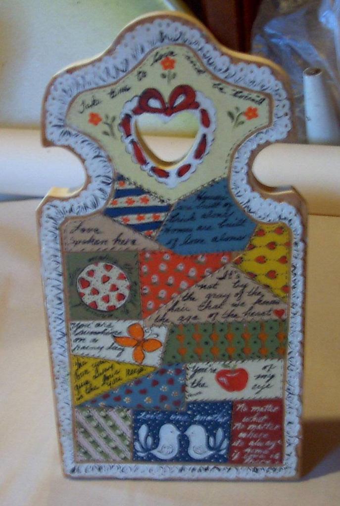 Crazy Quilt Handpainted Plaque, Vintage 1960