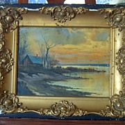 Antique Oil Painting in Gesso Frame