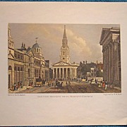 """Vintage Engraving """"The New Opening to St. Martin's Church""""."""