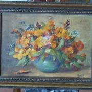 Floral Print Repousse Art Framed