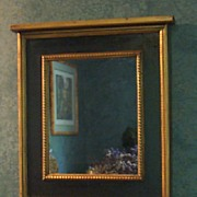 Mirror-Trumeau Accent-Black with Gold Leaf Trim