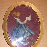 Needle Point Bonnet Girl in Oval Frame